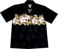 Hawaii Hemd Made in Hawaii Größe S-3XL 100% Baumwolle Hawaiihemd schwarz Blüten