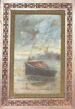HUILE SUR TOILE ANCIENNE - BATEAU A L'ANCRE - SIGNÉE  - 68 x 47 cm