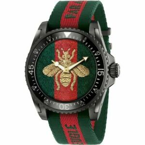 Mens Gucci Dive Bee Stainless Steel Green Red Nylon Watch - YA136216