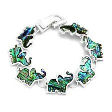 Elephant Bracelet Abalone Paua Shell Womens Silver Fashion Jewellery 7.5 inch
