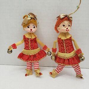 Vintage Folk Art JAPAN Girl Felt Cloth Bell Yarn Christmas Ornament Figure RARE