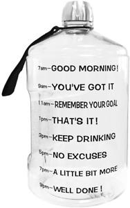Botella De Agua Para Fitness De 1 Galon Con Marcador De Tiempo Bebida Mas Agua
