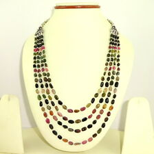 Necklace Natural Tourmaline Gemstone Jewelry Multi Color Handmade Beaded Jewelry
