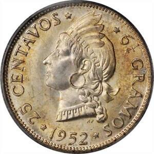 1952 Dominican Republic 25 Centavos. KM-20. PCGS MS 66, None finer at PCGS