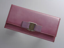 G8012M Authentic Salvatore Ferragamo Vars Ribbon Patent Leather Long Wallet