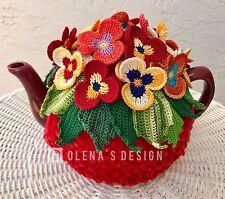 Crochet tea cozy red tea cover red pansy tea cosy tea warmer crochet flower