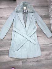 Ladies Size 6 River Island Tie Waist Faux Fur Collar Coat Light Blue/Teal