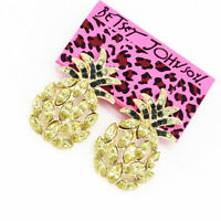 New Fashion Crystal Rhinestone Pineapple Ear Stud Betsey Johnson Earrings Gift