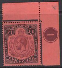 """BERMUDA SG55a 1918 £1 PURPLE & BLACK/RED """"BREAK IN SCROLL"""" MNH (MTD IN MARGIN)"""