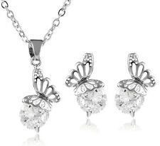 Luxury Silver and White Zircon Butterflies Stud Earrings & Pendant Necklace S579