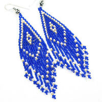 NATIVE STYLE BLUE GOLD HANDCRAFTED EARRINGS SEED BEADED JEWELRY HANDMADE E14/3