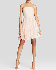 Vera Wang Pink Floral Lace Strapless Tulle Cocktail Dress NEW NWOT 10