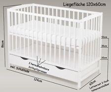 Babybett Gitterbett Kinderbett Schublade 120x60cm Weiß Massivholz Matratze Neu