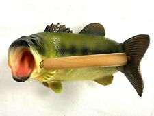 "8.5"" Wall-Mounted Bass Fish Toilet Paper Roll Holder Realistic Wood Spring Spoll"