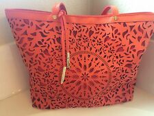 Womens Carlos by Santana Orange Red Tote Purse Cut Out Bright Hand Bag