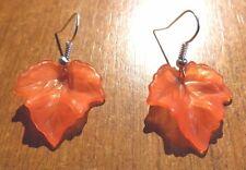 Boucles d'oreilles argentées feuille rouge 25x24 mm