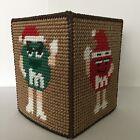 Handmade Plastic Canvas Tissue Box Cover M&Ms Topper Boutique NEW Gift Idea