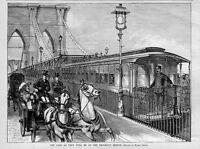 BROOKLYN SUSPENSION BRIDGE STREETCARS HORSES CARRIAGES TRANSPORTATION IN 1883