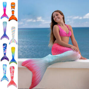Kids Girls Adult Swimmable Tail Swimming Costumes Fin Fun Mermaid Tail Monofin