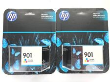 Lot of 2 HP Genuine 901 Color Ink Cartridge Replacement Warranty END DATE 11/17