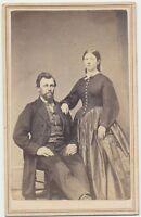 1860s CDV Photo Bearded Man & Wife Civil War Tax Revenue Stamp Columbus Ohio #69