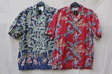 NWOT TWO Shirts Paradise Found Red Parrots Green Blue Aloha Surfer Hawaiian sz M