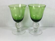 Beautiful Set Of 2 Tulip Shaped Drinking Glasses With Ball Stem ~Green~
