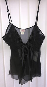 VX Intimate Ladies Lacey Babydoll Short Negligee New Size Large - Black