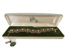 Vintage Goldette, NYC,  Real Jade Diamond Cut Bracelet With Box Signed
