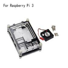 Klare Acrylgehäuse Shell Gehäuse Box + Lüfter für Raspberry Pi 3 Modell B mode.