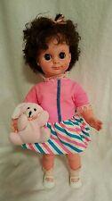 "15"" Vinyl/Plastic Uneeda Doll w/ Big Flirty Eyes Dress brunette sleepy eyes"