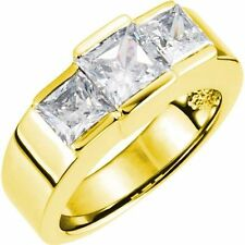 3 Princess cut Diamond Engagement Wedding Ring 14k Yellow Gold 1.81 tcw