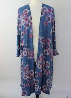 XL 1X Large LuLaRoe Sarah Cardigan Blue Gray Floral Pink Purple Soft Knit NWT 94