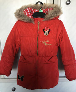 Girls Minnie Mouse Fleece Lined Padded Coat Fur Trimmed Hood Age 3-4 George Asda