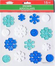 NEW Christmas HO HO HO window Gel Clings 19 pcs Holly Snowflakes Decorations