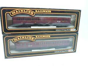 2 x MAINLINE 00 gauge LMS 57' PANELLED BRAKE/3rd COACHES - MAROON - 37110