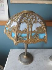 Antique 1920's Miller Lamp Co. 6-Panel Curved Slag Stained Glass Lamp