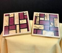 "HAND CRAFTED COASTERS 4 1/2"" X 4 1/2""  PURPLE HEART & BLACK LINE SPALTED MAPLE"