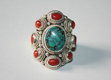 BAGUE ARGENT TURQUOISE CORAIL TIBET NEPAL T58-SILVER RING TURQUOISE CORAL