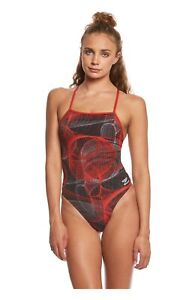 NWT SPEEDO Women 28 Competition Swimsuit Cyclone Strong Endurance+ $84 Red Swim