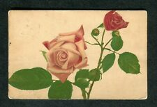 Posted 1907 Illustrated Pink & Red Roses