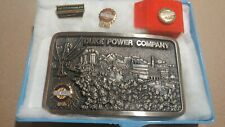 1981 Duke Power Electric Company Brass Belt Buckle 10K Gold Diamond Pin Emblems