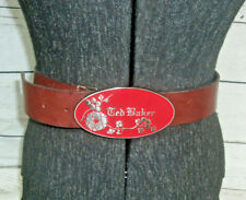 77373518e6486 Ted Baker Tooled Genuine Leather Metal Buckle Waist Belt Boho Size 39