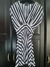 Motel Rocks Stripy Flowy Sailor Navy Style Dress With Pockets Size M