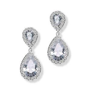 Women's Fashion Silver Plated White Stud Drop Hoop Earrings Wedding Jewelry Gift