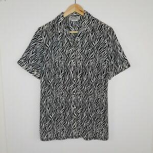 Vintage Leesa Button Shirt Zebra Print Black White Collar Short Sleeve Size 10