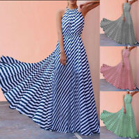 Womens  Sleeveless Striped Loose Dress Beach Party Casual Maxi Long Sundress UK