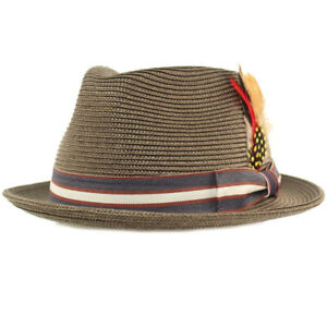 Men's Stripe Band Removable Feather Derby Fedora Curled Brim Hat