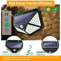100 LED Solar Powered PIR Motion Sensor Wall Security Light Garden Lamp Acces