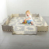 EVA Baby Play Mat with Fence Interlockin Foam Floor Tiles with Crawling Mat US